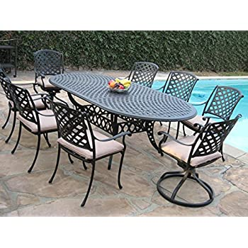 Cast Aluminum Outdoor Patio Furniture 9 Piece Expandable Dining Set  DS 09KLSS260180T 2 Swivel Rockers