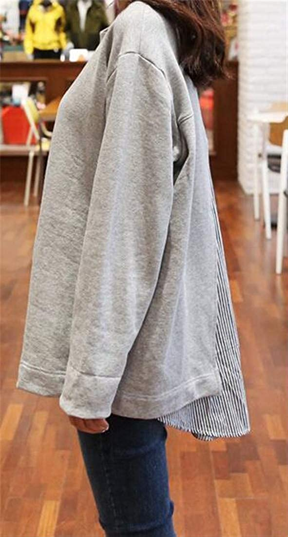 Joe Wenko Womens Splice Casual Pullover Hi-Low Slim Sweatshirts