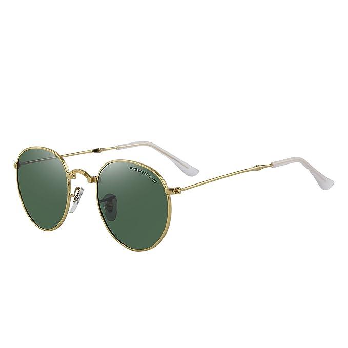 58929a38795 MERRY S Men Retro Folded Polarized Sunglasses Women Classic Oval Sunglasses  S8093 (Gold G15