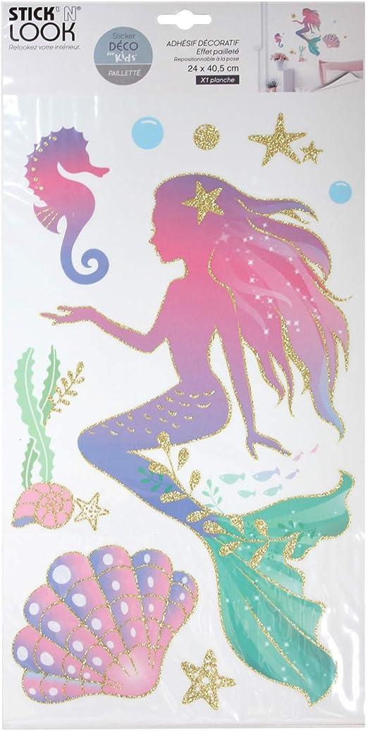 Amazon De Meerjungfrau Glitzer Aufkleber Sticker Wandtattoo Kinderzimmer Madchen Wanddeko Mobelsticker Glitzer Gold