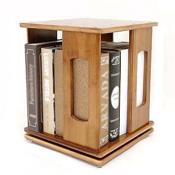 WSSF Desktop Bookshelf Bamboo 360 Rotating Swivel Bookcase Simple Storage Rack Childrens Divider Bookshelves