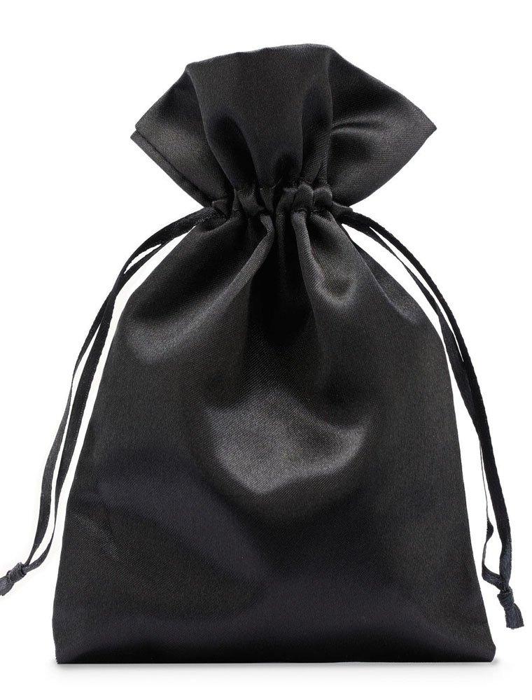 10 Stück Satinbeutel, Satinsäckchen, Größe 30x20 cm (Höhe x Breite), Farbe schwarz, mit Satinband zum Zuziehen- eine edle Geschenkverpackung, seidig weich 10 Stück Satinbeutel Satinsäckchen organzabeutel24