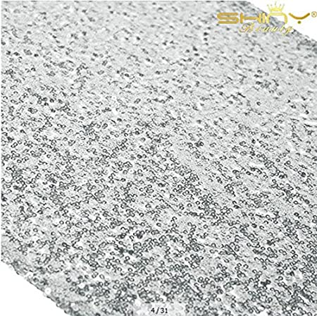 ShinyBeauty Silver Table Runners Wedding Decor Sequin Table Runner Sequin Table Runners Silver Table Runners Pack