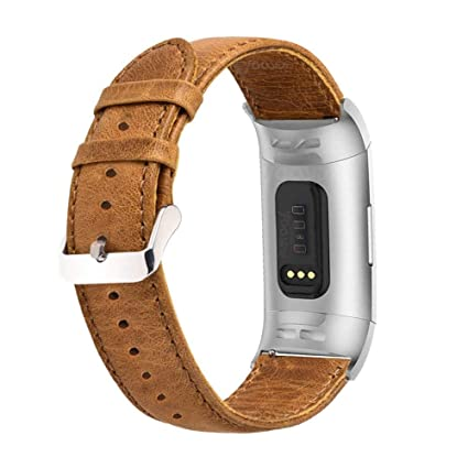 YOOSIDE for Fitbit Charge 3 Band,Genuine Leather Band Strap Men Wonwen  Wristband for Fitbit Charge 3 /Charge 3 SE (Brown)