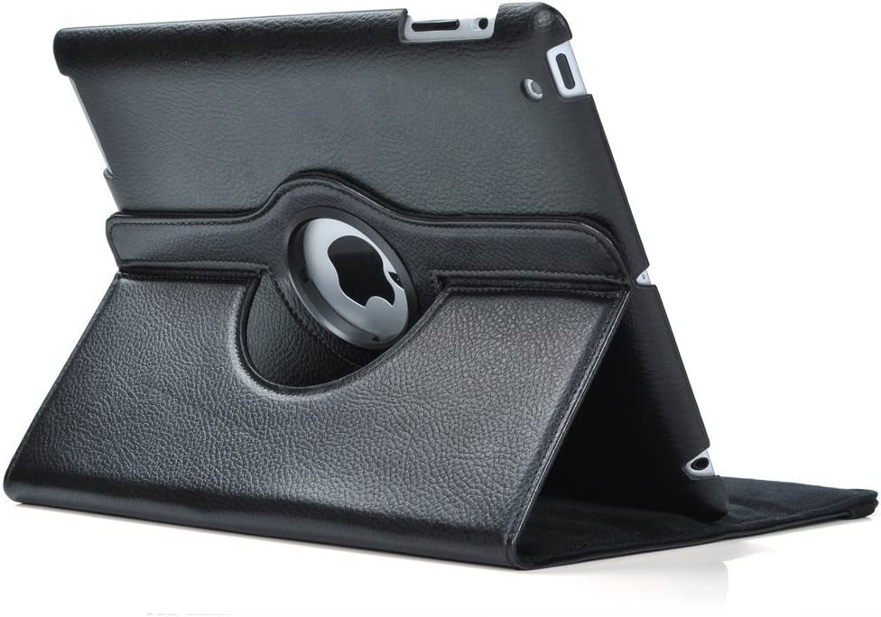 Black 360 Degrees Rotating Stand Leather Case for Ipad 2 and 3 4 Generation