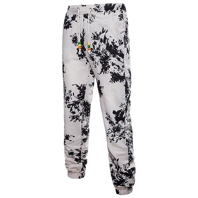 Zhuhaitf Classic Cómodo Lino Casual Pantalones Retro Floral Printing Transpirable Deportes Pants para Hombres Adolescentes Talla extra s1CeOUu