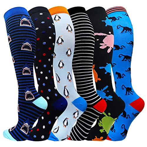 Compression Socks For Women&Men 1/3/6 Pairs - Best Medical for Running Athletic Flight Travel Circulation Recovery, 20-30mmHg