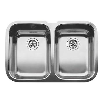 blanco supreme 2 equal double bowl undermount kitchen sink satin polished finish