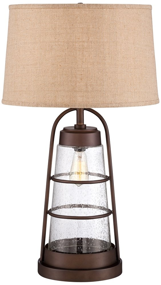 "Industrial Table Lamp with Nightlight Bronze Cage Glass Lantern Brown Burlap Shade for Living Room Family - Franklin Iron Works - 31"" high overall. Round base is 10"" wide. Shade is 16"" across the top x 18"" across the bottom x 11"" high. From bottom of shade to tabletop is 19 3/4"". Uses one 150 watt standard-medium base bulb (not included). Comes with one 25 watt Edison medium base bulb for built-in nightlight. 4-position switch for easy lighting control: top light on, night light on, both on, both off. - lamps, bedroom-decor, bedroom - 61HVY8r NAL -"