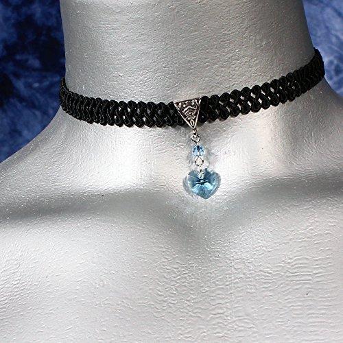 Twilights Fancy Aquamarine Light Blue Swarovski Crystal Heart Pendant On Black Ribbon Choker Necklace    Size Small