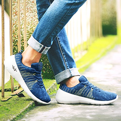 Running Ausom Jogging Athletic Knit Sports Shoes Walking Fashion Casual Blue Outdoor Mens Sneskers T4xfqTwnA