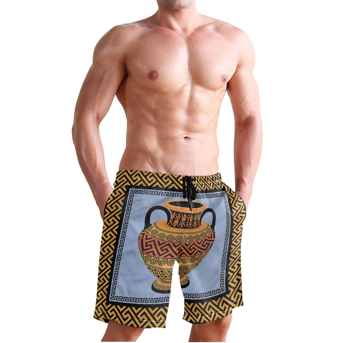 KVMV Traditional African Folk with Cultural Featured Trippy Icons Boho Quick Dry Beach Shorts