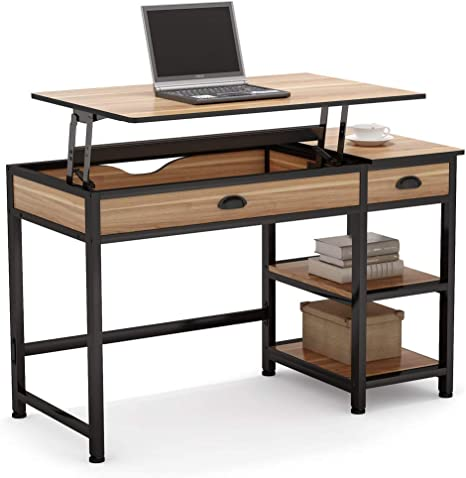 Tribesigns Rustic Lift Top Computer Desk With Drawers 47 Inch Writing Desk Study Table Workstation With Storage Shelves Height Adjustable Standing