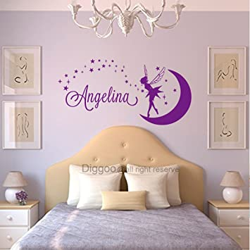 Personalized Name Wall Decal Fairy Name Nursery Wall Decal Art Girls  Bedroom Decor Moon Stars Wall Stickers (25\