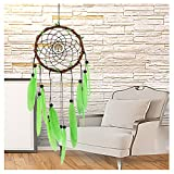 WCHUANG Indian Dream Catcher with Green Feathers, Room, Balcony Wall Hanging Home Decor Ornament Craft