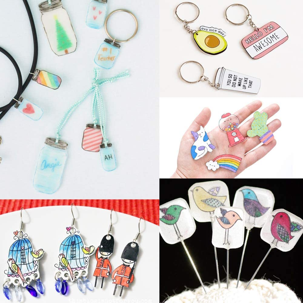 Benvo 157 Pcs Heat Shrink Plastic Sheet Kit Shrinky Art Film Paper 20 Pcs with 135 Pcs Keychains Accessory Ear Hooks Chain Beads Lobster Clasps and Hole Punch Tweezer for Creative DIY Handmade Craft