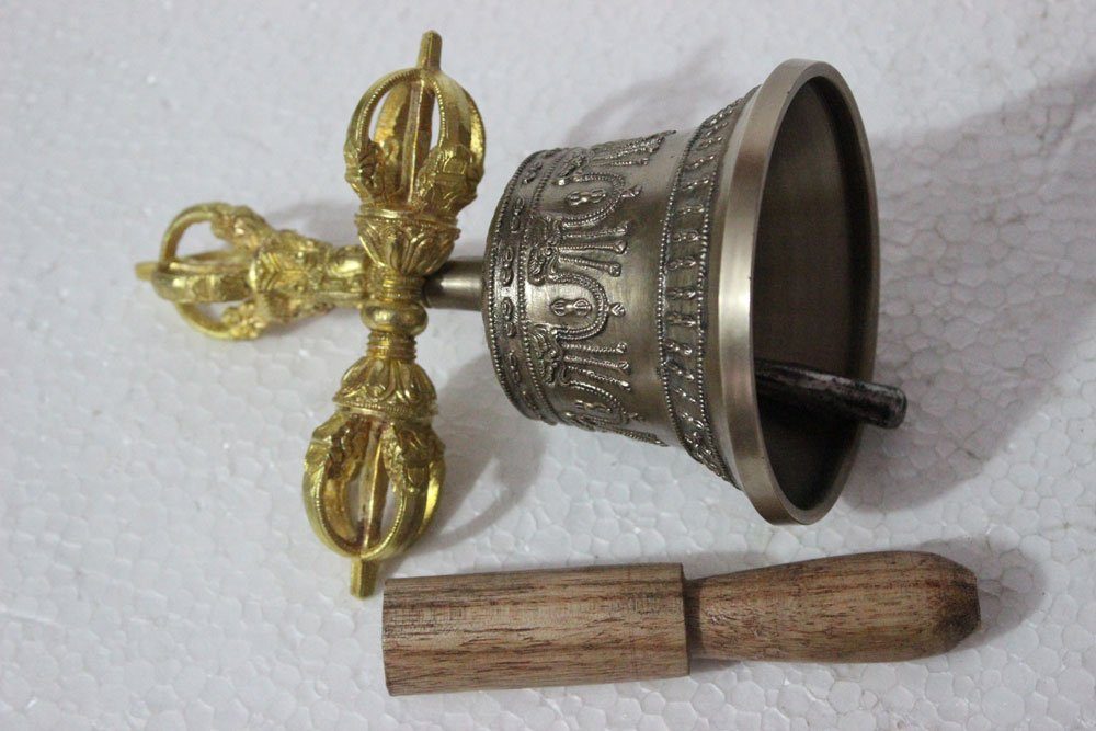 Tibetan Buddhist Meditation Bell and Dorje Set - Dharma Objects Bell of Enlightenment From Nepal 7 Inches by Singing Bowl Nepal (Image #3)