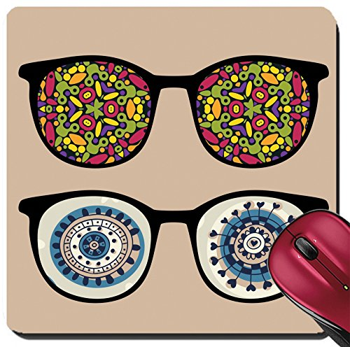 Liili Suqare Mousepad 8x8 Inch Mouse Pads/Mat Retro sunglasses with abstract and strange reflection in it IMAGE ID - Strange Sunglasses