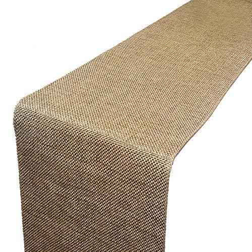 Parfair Dessin Burlap Jute-Cotton High Density Fabric Table Runner (13in. x 48in, Natural)