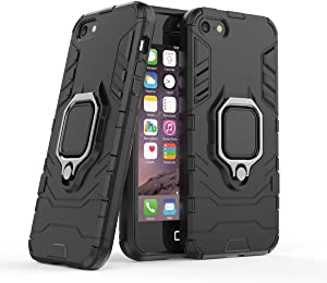 Cocomii Black Panther Ring iPhone SE/5S/5C/5 Case, Slim Thin Matte Vertical & Horizontal Kickstand Ring Grip Reinforced Drop Protection Bumper Cover Compatible with Apple iPhone SE/5S/5C/5 (Jet Black)