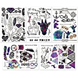 Hakuna 5 Sheets Temporary Tattoo Stickers - Over 100+ Cool Fake Tattoo Designs in Black and Vivid Colors. Type: Feather, Deer, Bird, Leaf, Dragonfly, Anchor, Arrow, Letter, Symbol, etc.