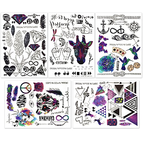 Temporary Tattoo 3 Sheets - Hakuna 5 Sheets Temporary Tattoo Stickers - Over 100+ Cool Fake Tattoo Designs in Black and Vivid Colors. Type: Feather, Deer, Bird, Leaf, Dragonfly, Anchor, Arrow, Letter, Symbol, etc.