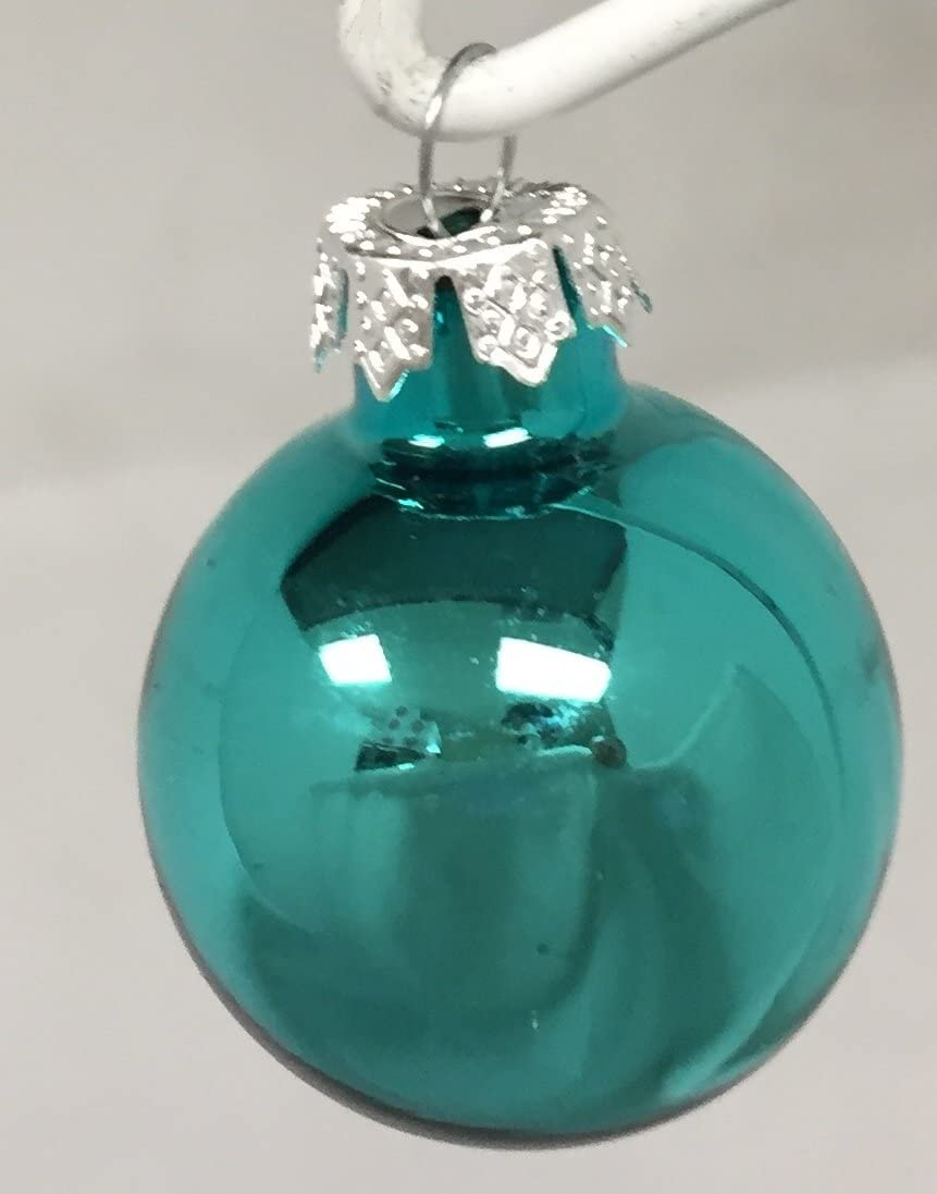 Home and Holiday Shops Shiny Turquoise Glass Ball Christmas Ornament Decorations Set of 6 2.75 Inch New