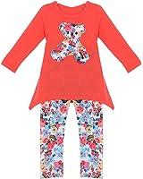 Molil Kids Girls Long Sleeve Irregular Hem Floral Shirt Pants Outfits Set