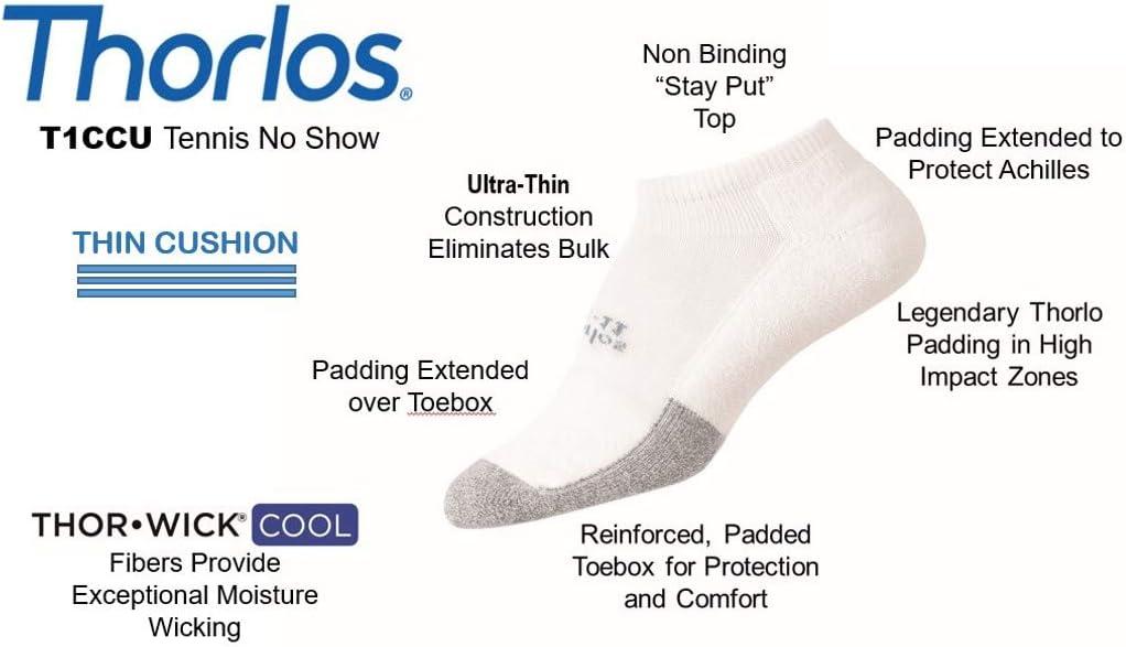 Thorlos Unisex T1CCU Tennis Thin Padded Low Cut Sock