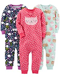 Girls' 3-Pack Snug Fit Footless Cotton Pajamas