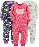 Simple Joys by Carter's Baby Girls' Toddler 3-Pack Snug Fit Footless Cotton Pajamas