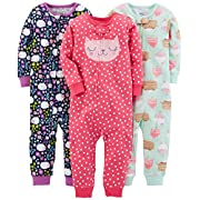 Simple Joys by Carter's Baby Girls' 3-Pack Snug Fit Footless Cotton Pajamas, Sweets/Floral/Kitty, 6-9 Months