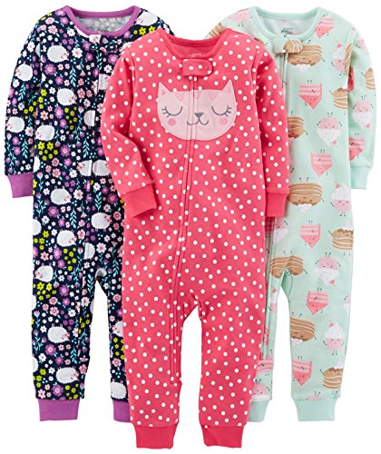 Simple Joys by Carter's Baby Girls' Toddler 3-Pack Snug Fit Footless Cotton Pajamas, Sweets/Floral/Kitty, 4T