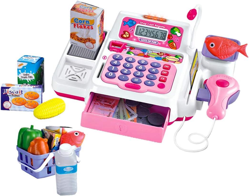 deAO Roze Supermarkt Winkel Speelgoed Kassa, Scanner