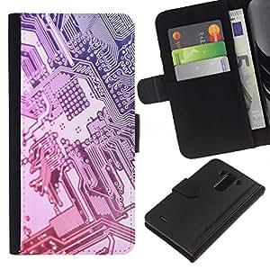 KLONGSHOP // Tirón de la caja Cartera de cuero con ranuras para tarjetas - Plata Chip Tecnología Código Arte - LG G3 //