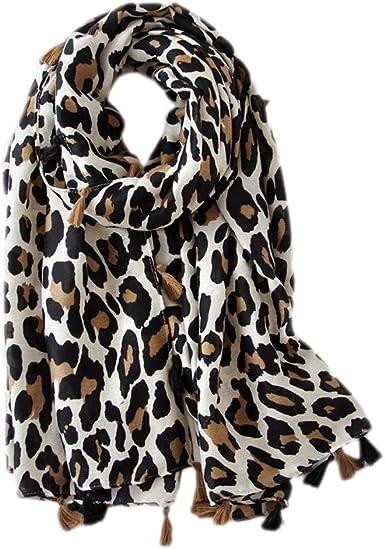 Ruikey Bufanda de la Impresión del Leopardo Bufanda Mujer Algodon Pañuelo de Mujer Mantón Bufanda para Fiestas, Playa, uso Diario(Beige): Amazon.es: Ropa y accesorios