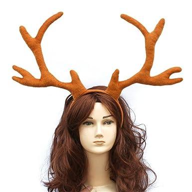 halloween festival costume party elk reindeer cosplay antlers headband brown