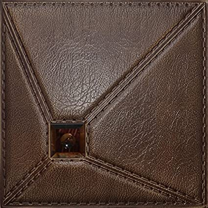 leather wall panels stitched 3d faux leather wall panel lt86 caramel the set of glue up amazoncom