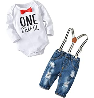 eb638a864 Toddler Baby Boy Clothes Set Bowtie Romper Suspenders Ripped Denim Pants  Outfits