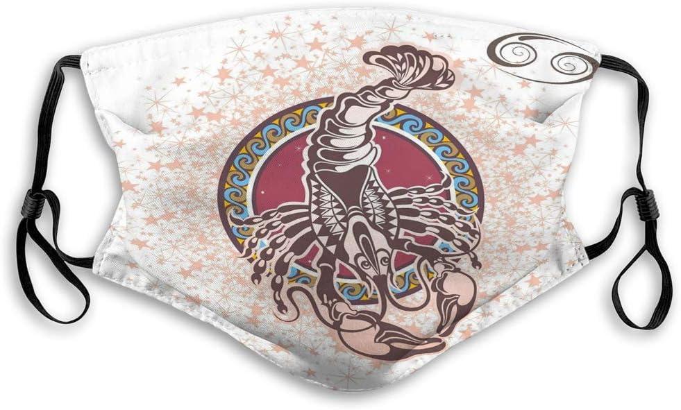 Mascarilla bucal Unisex Mascarilla Reutilizable Signo del Zodiaco Decorativo Círculo de cáncer estilizado