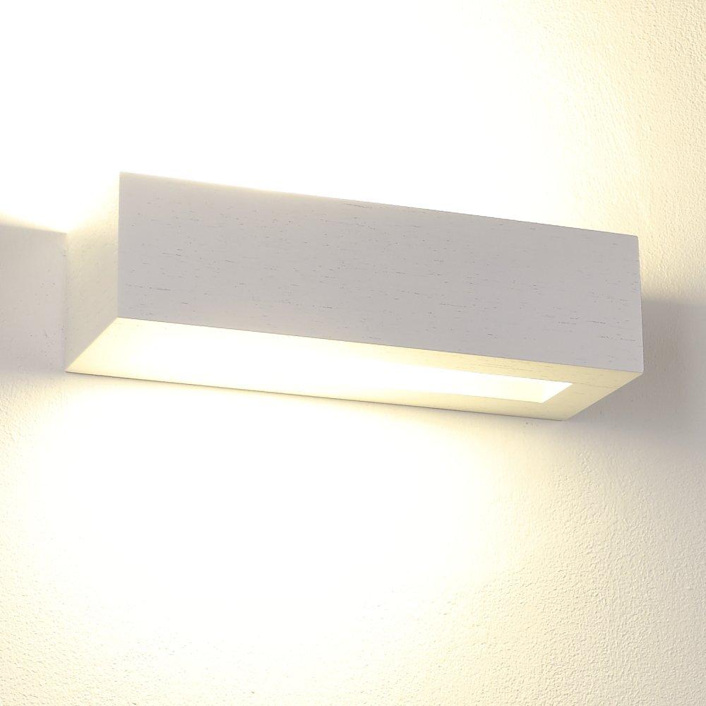 Wandleuchte LED 6W   Wandlampe Holz Eiche weiß   Leuchte 30cm Breite   Lampe inklusive LED-Leuchtmittel   Holz-Leuchte 660lm extra warmweiß 2700K 230V   Holz-Wandlampe modern Holzlampe Wand