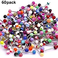 Aofocy 60 piezas lengua anillo acrílico mezcla barbell cuerpo piercing joyería