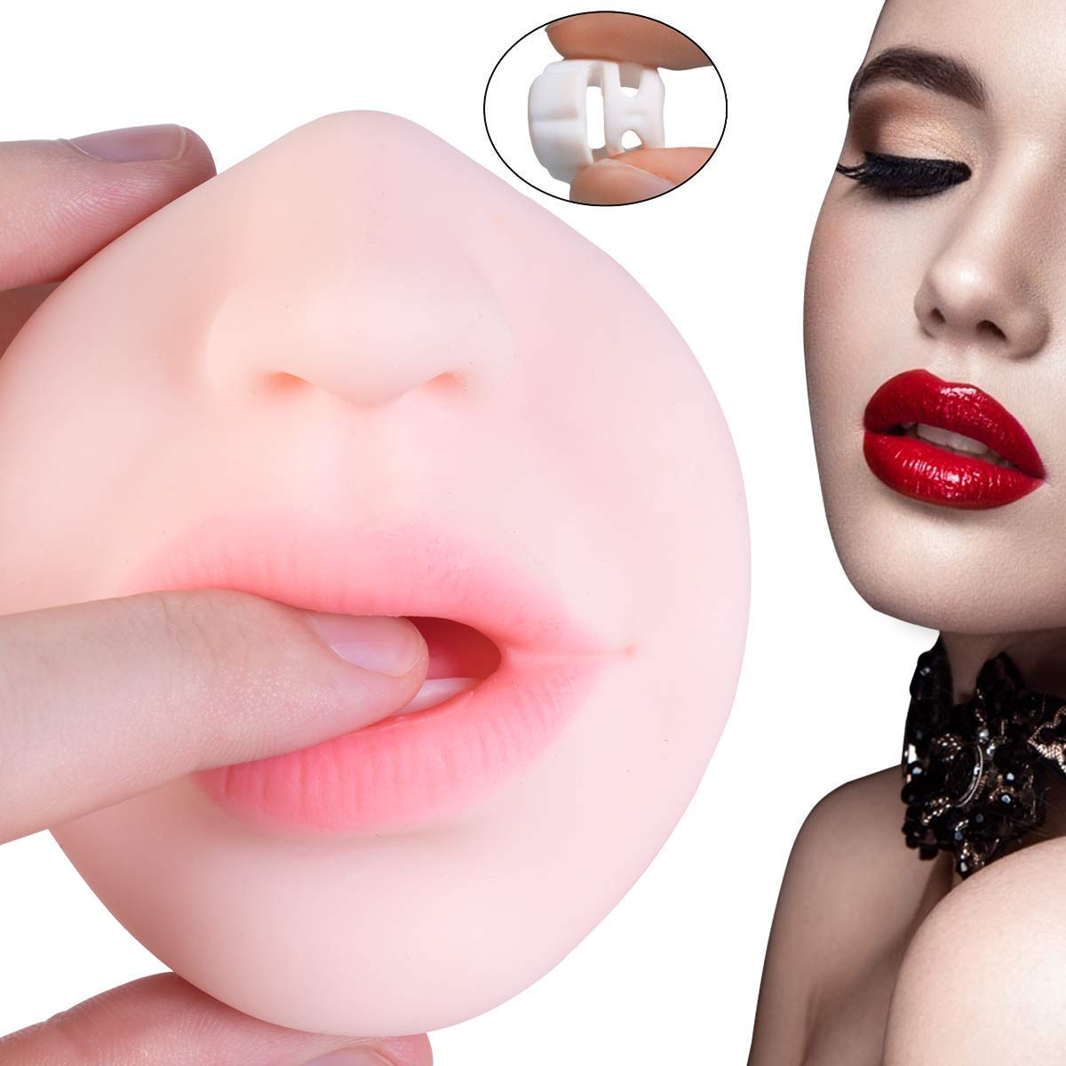 Zemalia Masturbatoren Sexspielzeug für Männer 2 in 1 Masturbator mit Realistischer Vagina und Mund, eingebauter Penisring