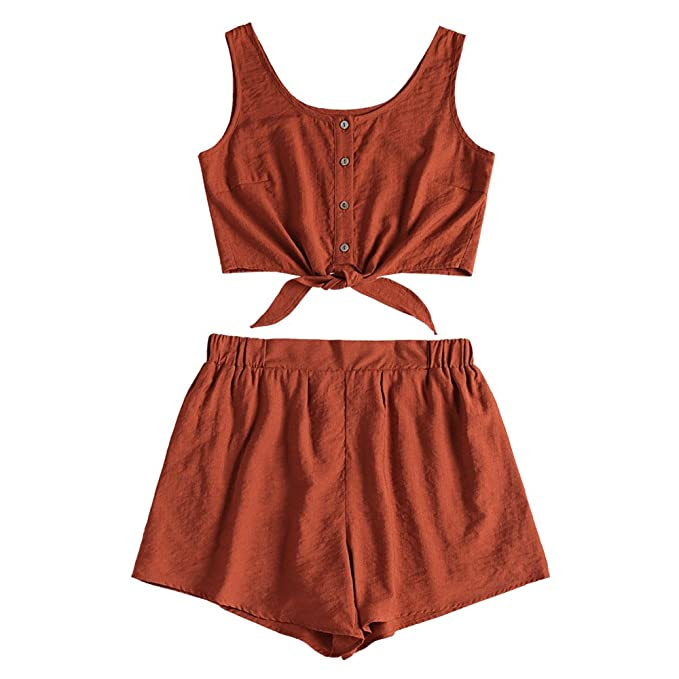 814b31e509c752 ZAFUL Women s 5 Piece Outfit Sleeveless Button Up Crop Top and Shorts Set