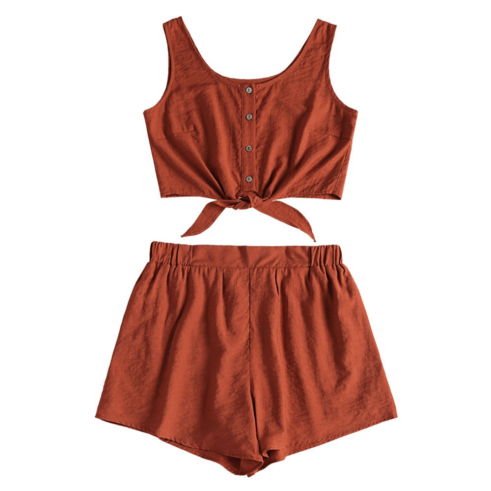 ZAFUL Women's 5 Piece Outfit Sleeveless Button up Crop Top and Shorts Set