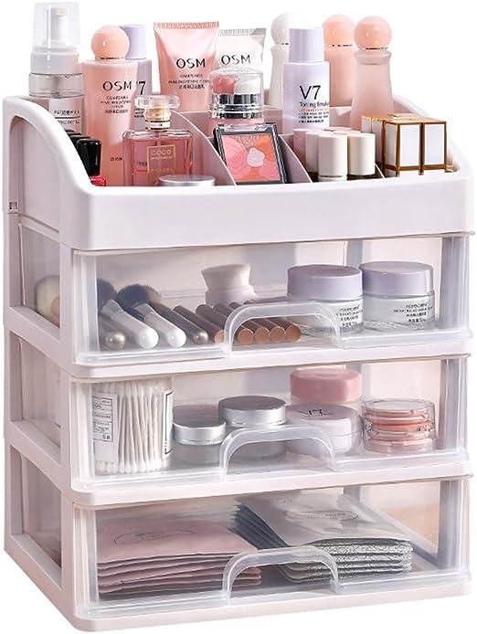 Wuyue Hua - Caja de almacenamiento de maquillaje, organizador de cosméticos de tamaño pequeño, varios cajones transparentes para cuarto de baño, dormitorio, tocador.: Amazon.es: Hogar