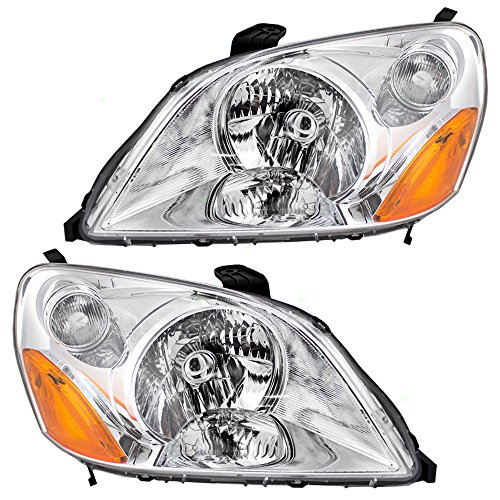 Driver and Passenger Headlights Headlamps Replacement for Honda 33151-S9V-A01 33101-S9V-A01 (Honda Pilot Headlight Assembly)
