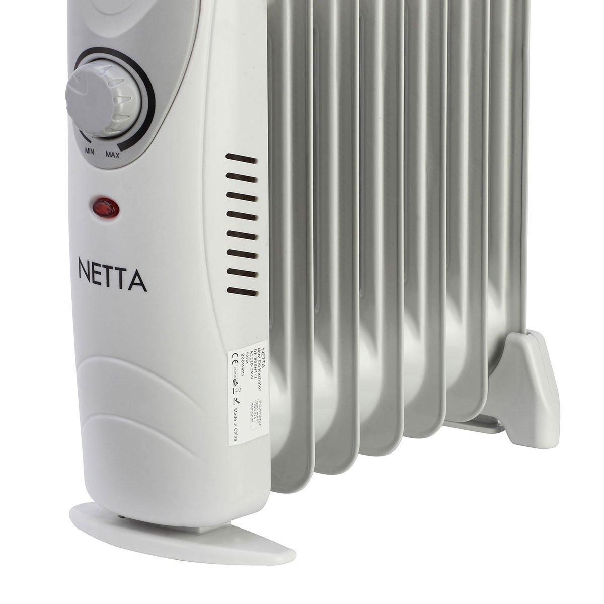 NETTA Radiador con baño de Aceite eléctrica con termostato, 800W: Amazon.es: Hogar