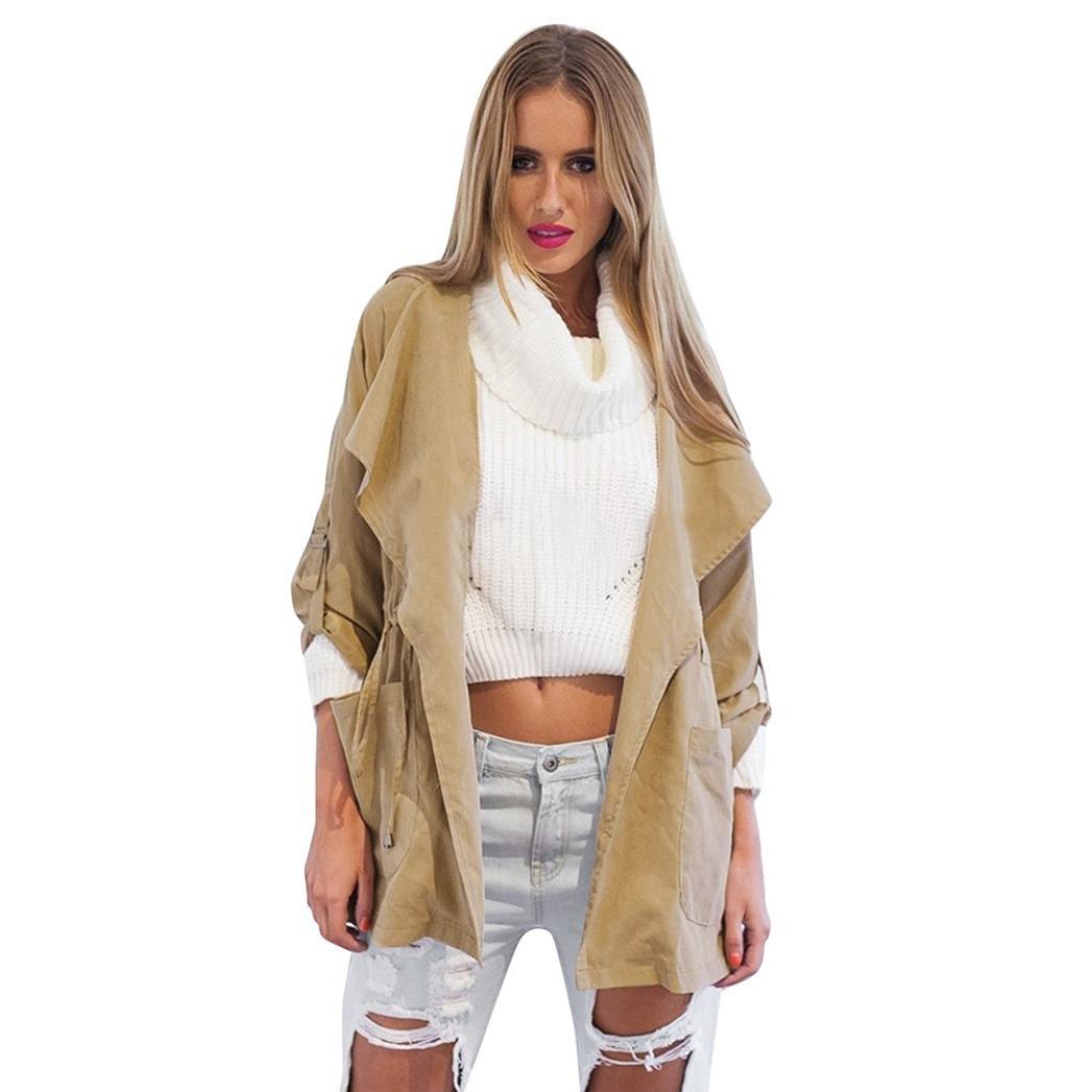 KESEE Clearance Coat ☀ Women Hooded Jacket Windbreaker Parka Pockets Cardigan Thin Coat (XL, Khaki)