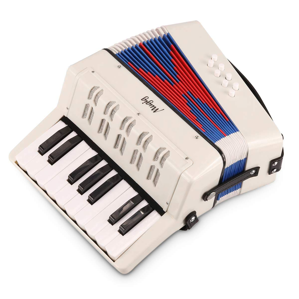 Mugig Accordion, Educational MKA-2 17 Key Keyboard Piano Accordion with adjustable Straps, Solo and Ensemble Instrument, Musical Instrument for Early Childhood Teaching, White